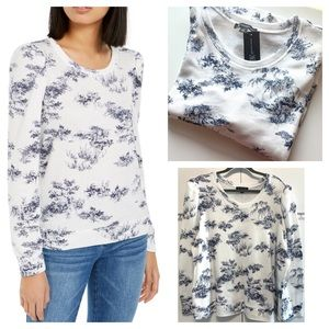 INC Toile Printed Puff Long Sleeve Sweatshirt Top